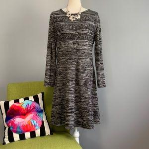 Calvin Klein Black White Knit Sweater Dress